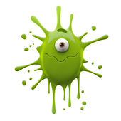 One-eyed green monster with closed wavy mouth — Stock Photo