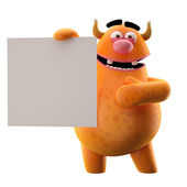 Orange monster with white paper — Stock Photo
