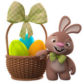 Smiling Easter bunny near basket — Stock Photo