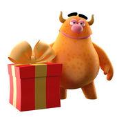Cartoon orange monster with birthday gift — Stock Photo