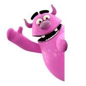 Pink monster waving hands — Stock Photo