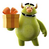 Monstruo verde de dibujos animados con el regalo de cumpleaños — Foto de Stock