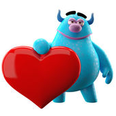 Cartoon blue monster with heart — Stock Photo