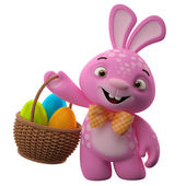 Easter pink bunny holding basket — Stock Photo