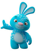 Blue bunny leaned on wall — Stock Photo