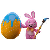Easter pink bunny with egg and brush — Stock Photo