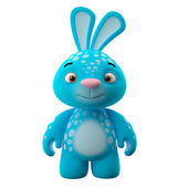Amazing blue cartoon bunny — Stock fotografie