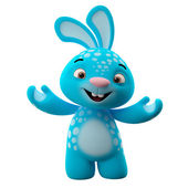 Blue bunny with hands up — Stok fotoğraf
