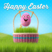 Pink Easter egg in basket with sky — Stock Photo