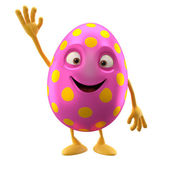 Glad Easter pink egg with hand up — Stock Photo