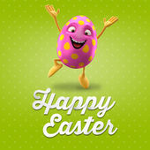 Glad pink egg jumping — Stock Photo