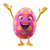 Cartoon pink Easter egg with hands up — Stock Photo