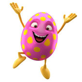 Happy pink egg jumping — Stock Photo