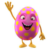 Funny Easter pink egg with hand up — Stock Photo