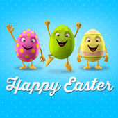 Three funny Easter eggs — Stock Photo