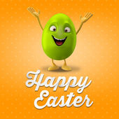 Blank happy green Easter egg with hands up — Stock Photo