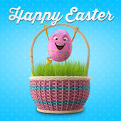 Pink Easter egg in basket — Stock Photo