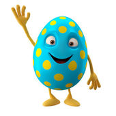 Glad Easter blue egg with hand up — Stock Photo