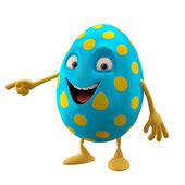 Blue smiling Easter egg pointing by hand — Stock Photo