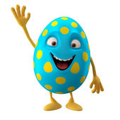 Funny Easter blue egg with hand up — Stock Photo