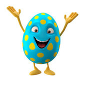Blue Easter egg with hands up — Stock Photo