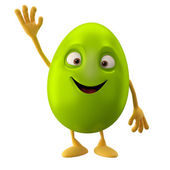 Easter blank green egg with hand up — Stock Photo