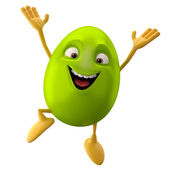Easter green egg jumping — Stock Photo