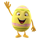 Happy Easter yellow egg with hand up — Stock Photo