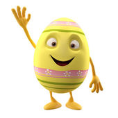 Easter yellow egg with hand up — Stock Photo