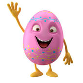 Happy Easter pink egg with hand up — Stock Photo