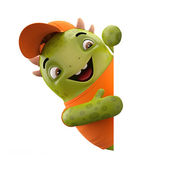 Green peeping dino monster — Stock Photo