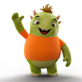 Green dino monster with one hand up — Stock Photo