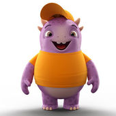 Purple smiling dino monster — Stockfoto