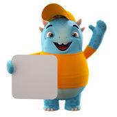 Blue dino monster holding board — Stock Photo