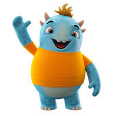 Blue dino monster with one hand up — Stock Photo