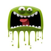 Green panicked monster — Stock Photo
