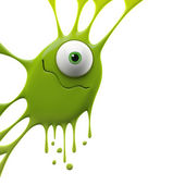 Green wavy smiling monster — Stock Photo