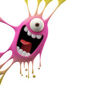 Two-colored excited monster — Stock Photo