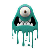 One-eyed frightened cyan monster — Stock Photo