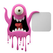 Scared pink monster holding board — Stock Photo
