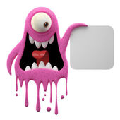 Yelling pink monster holding board — Stock Photo