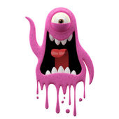 One-eyed glaring pink monster — Stock Photo