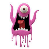 One-eyed yelling pink monster — Stock Photo