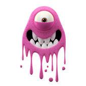 One-eyed smiling pink monster — Stockfoto