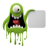 Yelling green monster holding board — Stock Photo