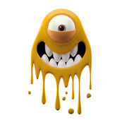 One-eyed smiling yellow monster — Stock Photo