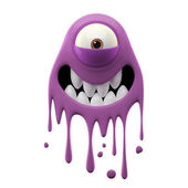 One-eyed smiling purple monster — Stock Photo