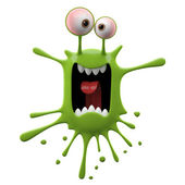 Blotch-shaped green panicked monster — Stock Photo