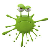 Blotch-shaped green unhappy monster — Stock Photo