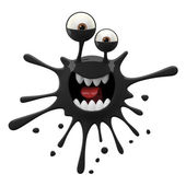 Blotch-shaped black frightened monster — Stockfoto